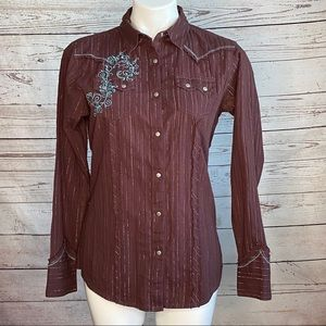 Wrangler Ladies Brown Button Snap Down size Med.